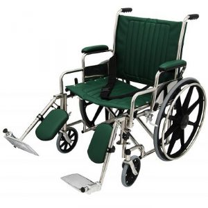 """22"""" Wide Non-Magnetic MRI Wheelchair w/ Detachable Elevating Legrests - Green"""